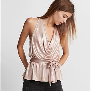 NWT • Express • Metallic Ruched Cowl Tank